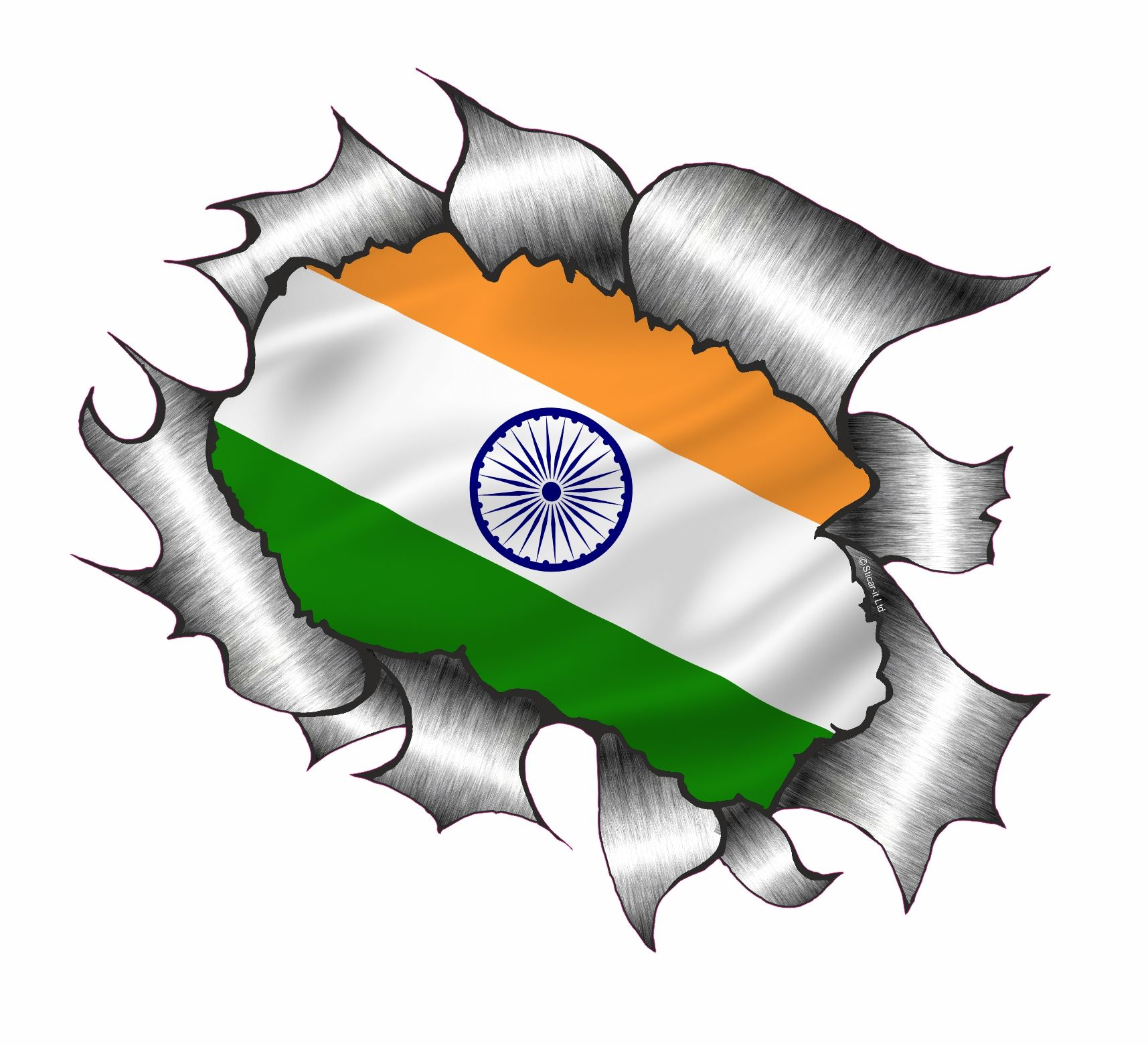 Ripped torn metal design with india indian flag motif external vinyl car sticker 105x130mm 2525 p jpg