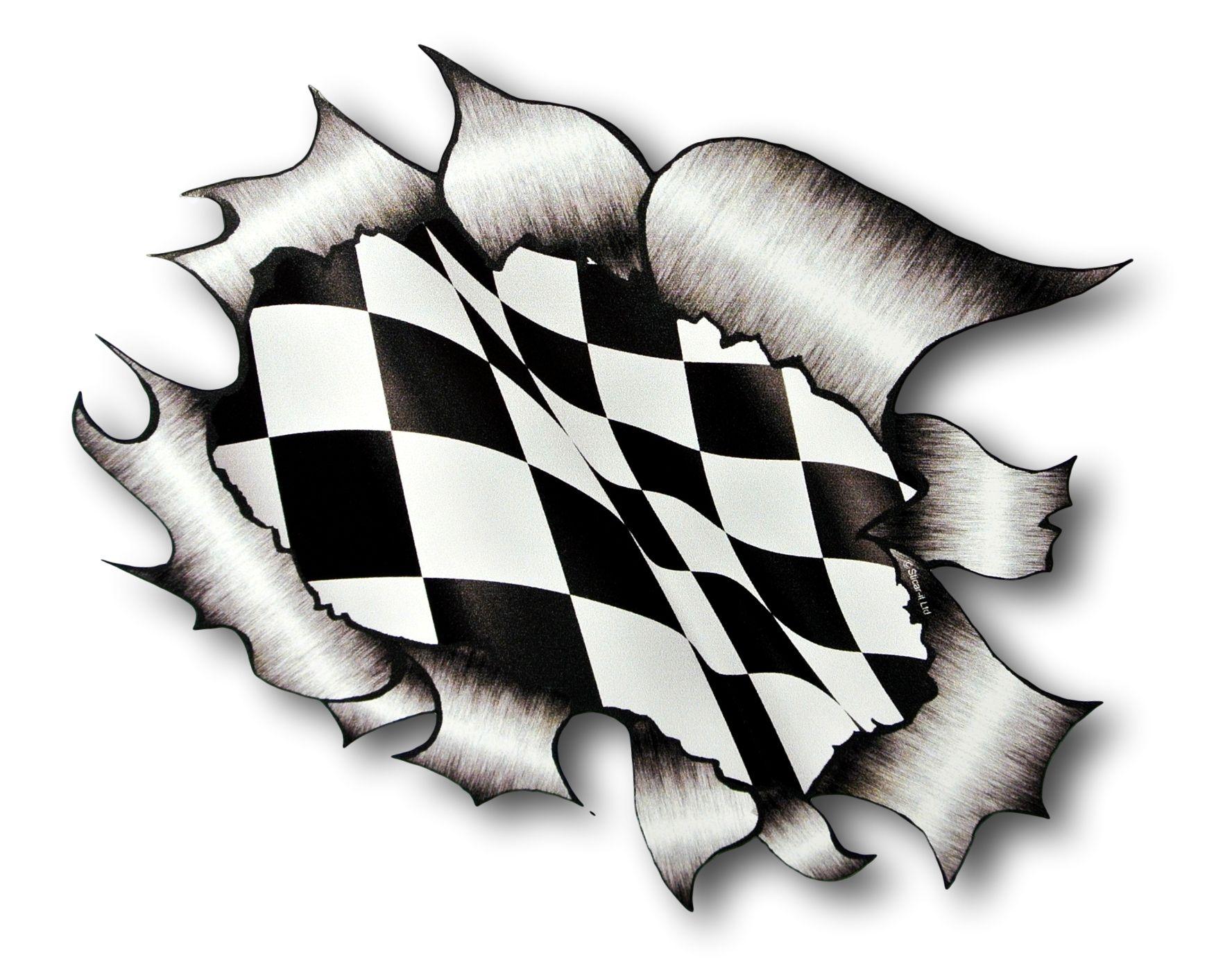 Ripped torn metal design with race style chequered flag motif external vinyl car sticker 105x130mm 2435 p jpeg