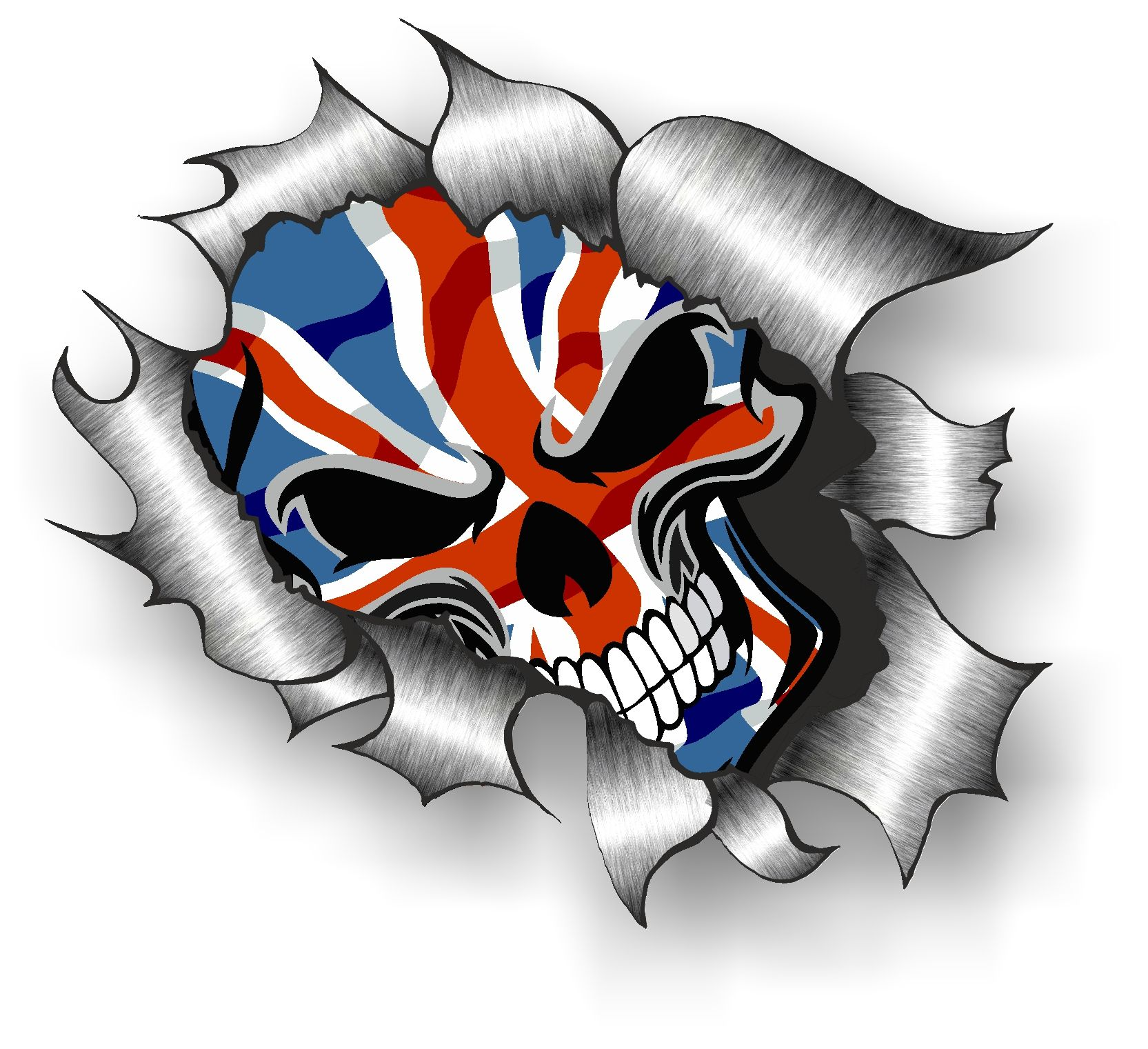 Ripped Torn Metal Design With Skull Amp Union Jack British