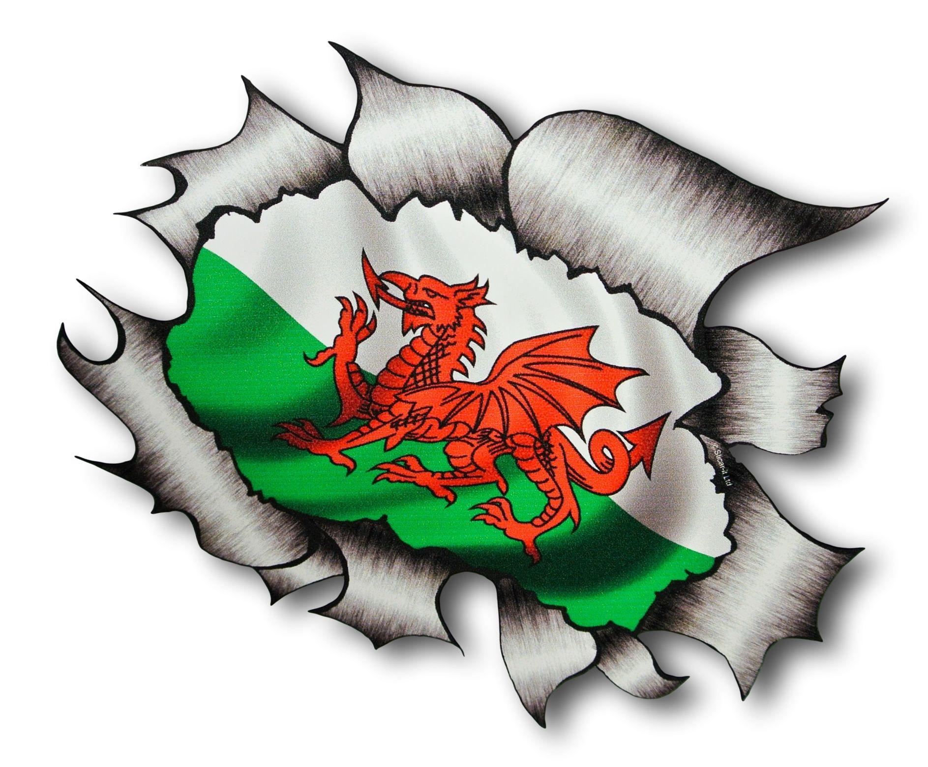 Ripped Torn Metal Design With Wales Welsh Dragon Cymru