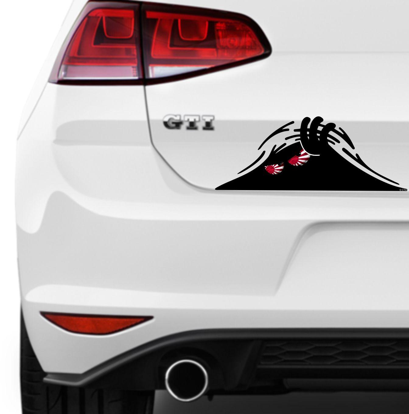 Scary monster peeper with jdm japanese r sun flag evil eyes vinyl car sticker 160x63mm