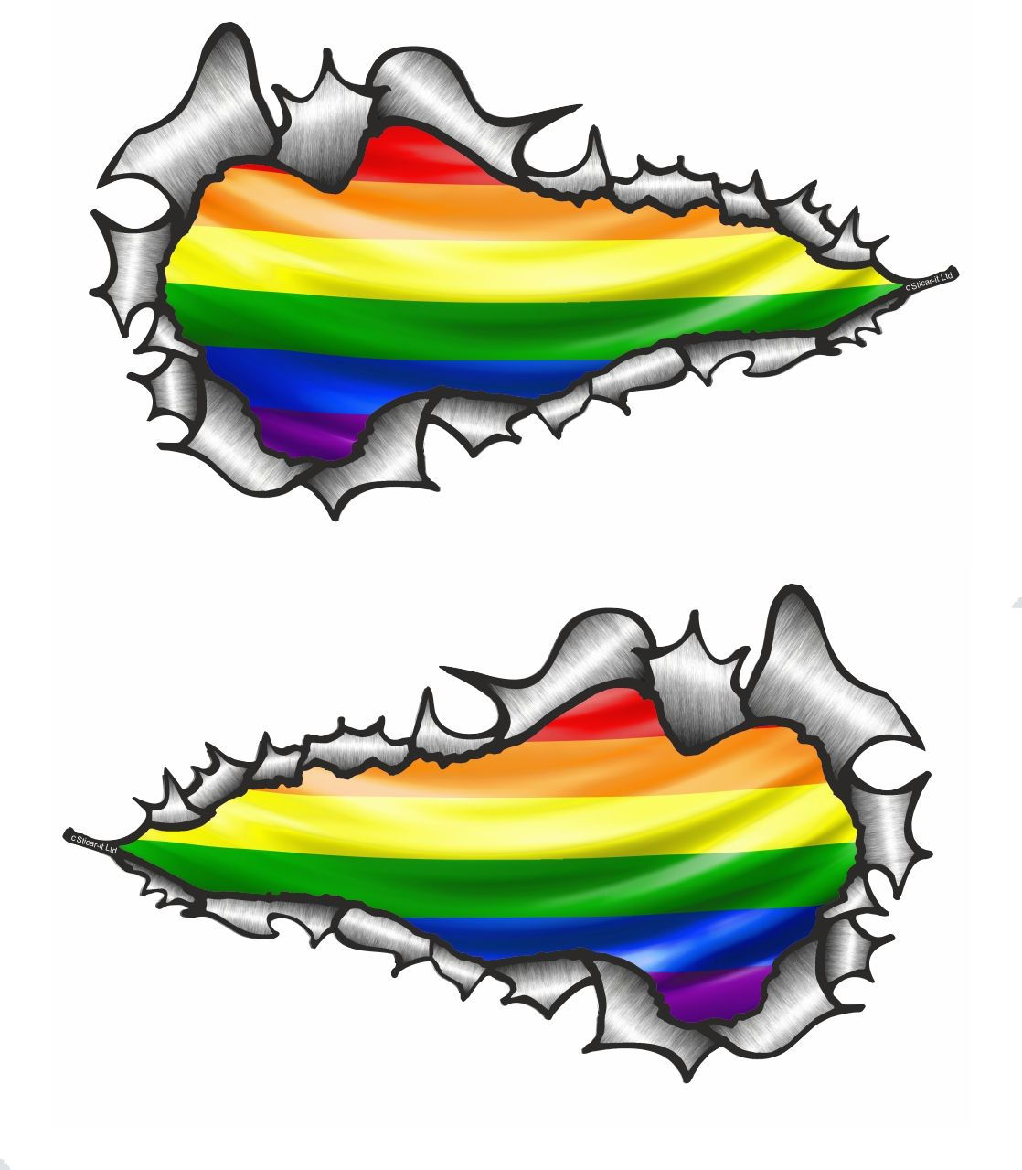Small long pair ripped metal design with gay pride lbgt rainbow flag motif vinyl car sticker 73x41mm 32189 p jpg
