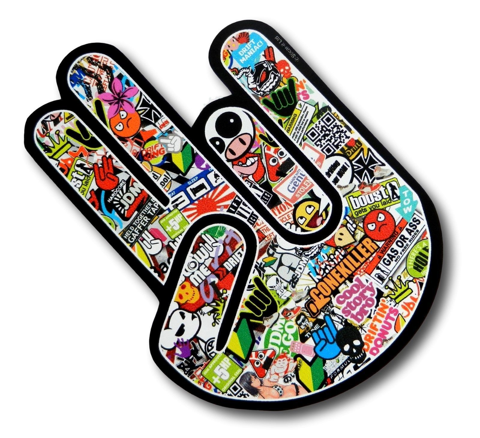 Car Stickers Decals >> THE SHOCKER HAND With JDM Style Multi Colour Stickerbomb Motif Vinyl Car sticker decal 115x80mm