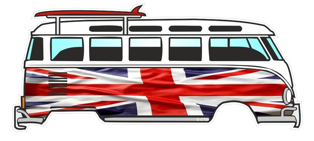 Union jack british flag design for retro vw split screen camper van bus graphic external vinyl car sticker 120x50mm