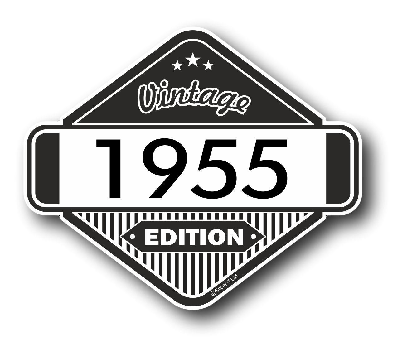 Vintage Edition 1955 Classic Retro Cafe Racer Design External Vinyl Car Motorcyle Sticker 85x70mm